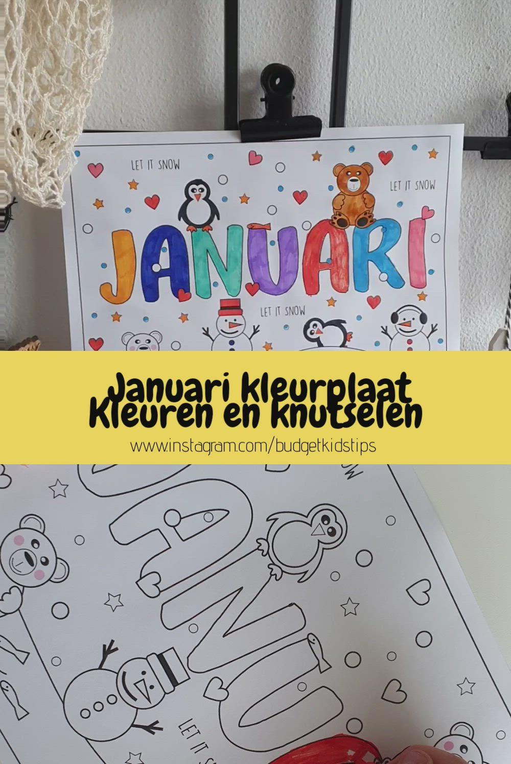 Kleur Je Januari Kleurplaat In Winterthema Video In 2021 Kinderen Kleuren Kinderactiviteiten Kleurplaten