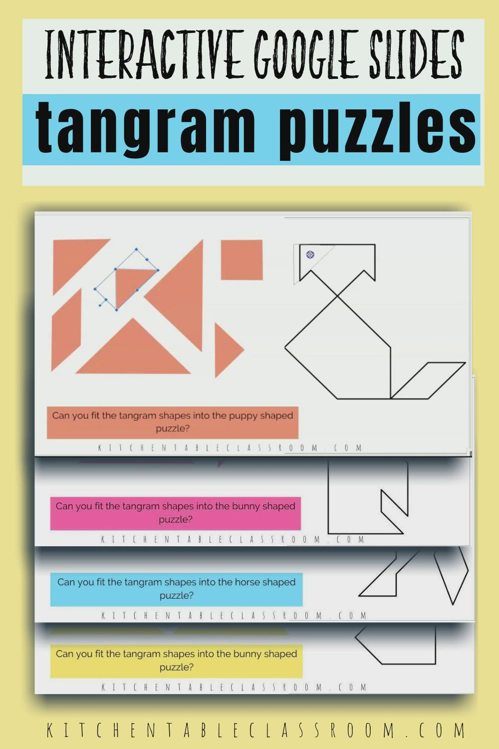 Online Tangrams- Google Slide Puzzles - The Kitchen Table Classroom Video  Video   Tangram puzzles [ 1500 x 1000 Pixel ]