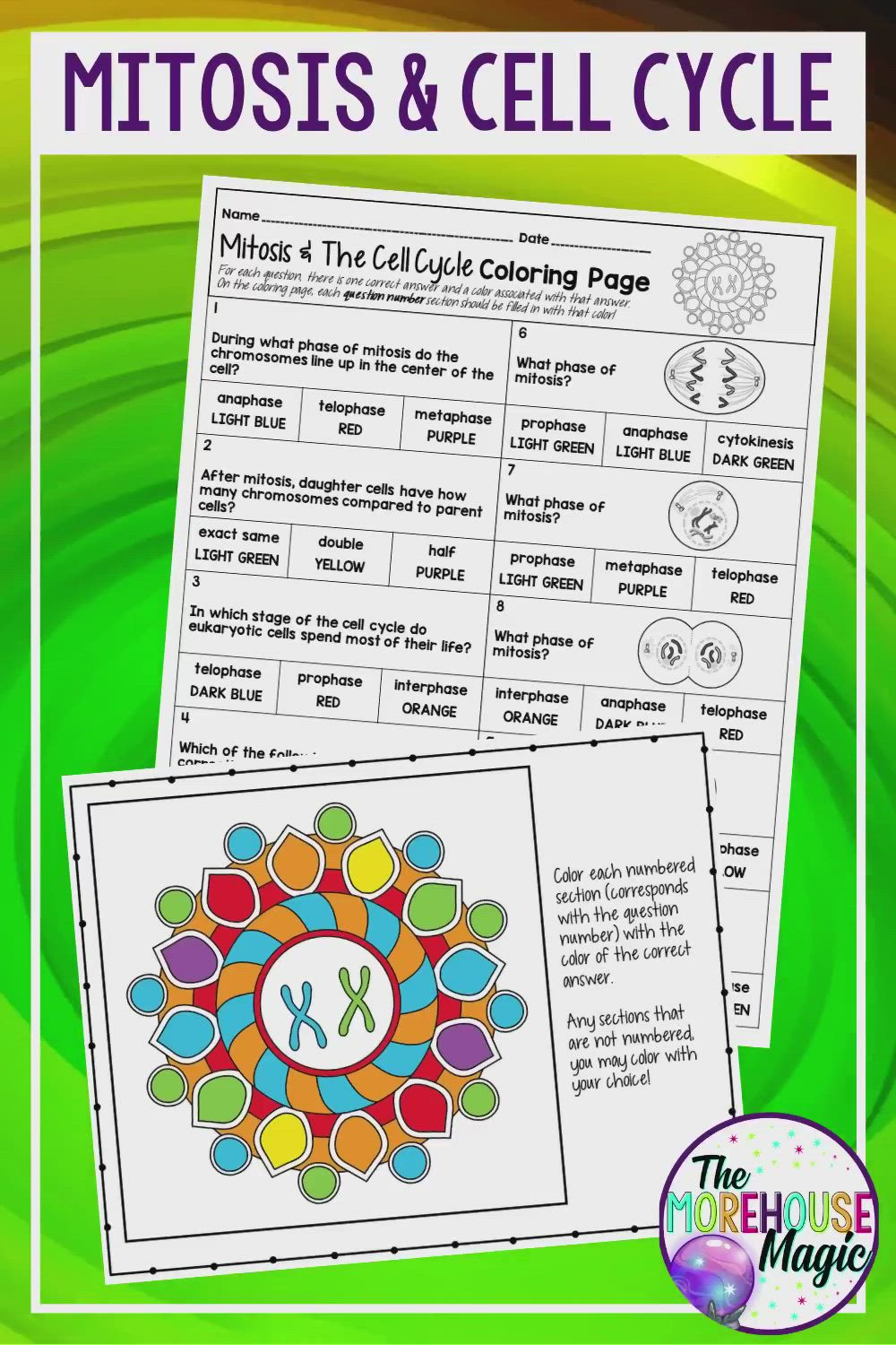 Mitosis And The Cell Cycle Color By Number Science Color By Number Video Video Cell Cycle Science Cells Middle School Science Resources [ 1500 x 1000 Pixel ]