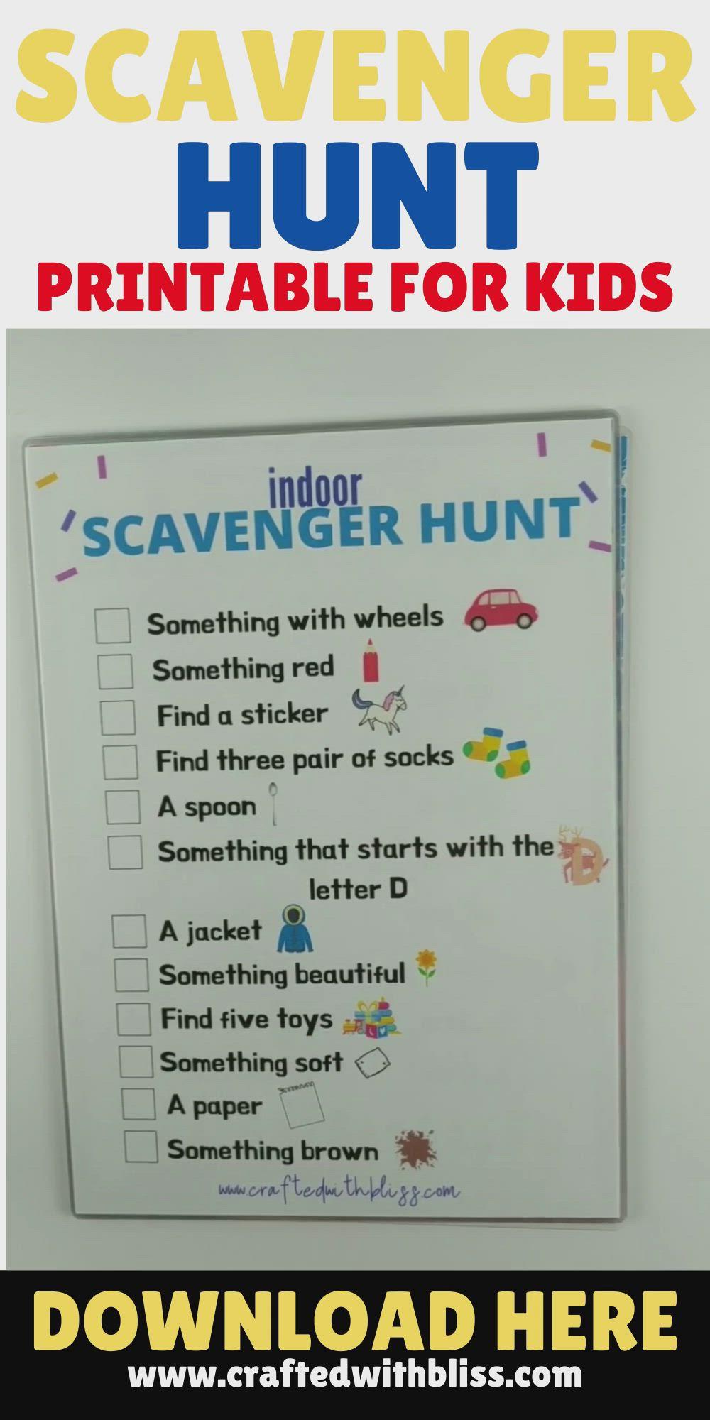 Indoor Scavenger Hunt Indoor Scavenger Hunt For Kids Video In 2021 Kindergarten Activities English Writing Skills Preschool Kindergarten
