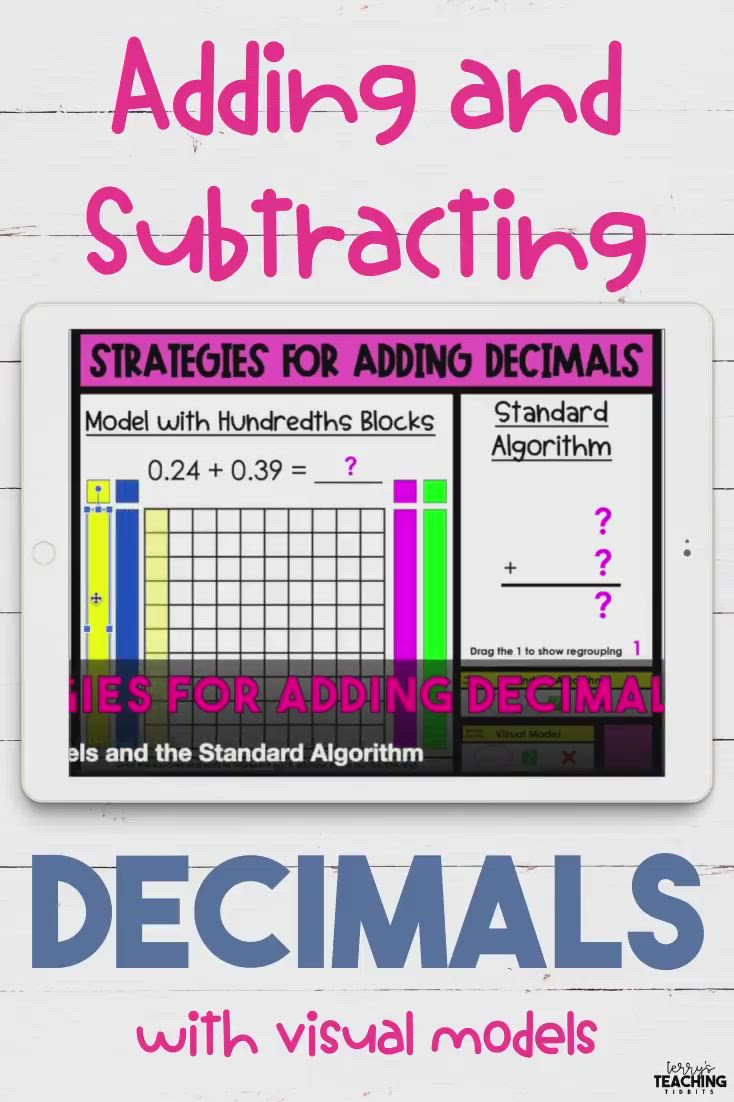 Adding And Subtracting Decimals With Visual Models Video Subtracting Decimals Decimals Adding And Subtracting Adding subtracting decimals video
