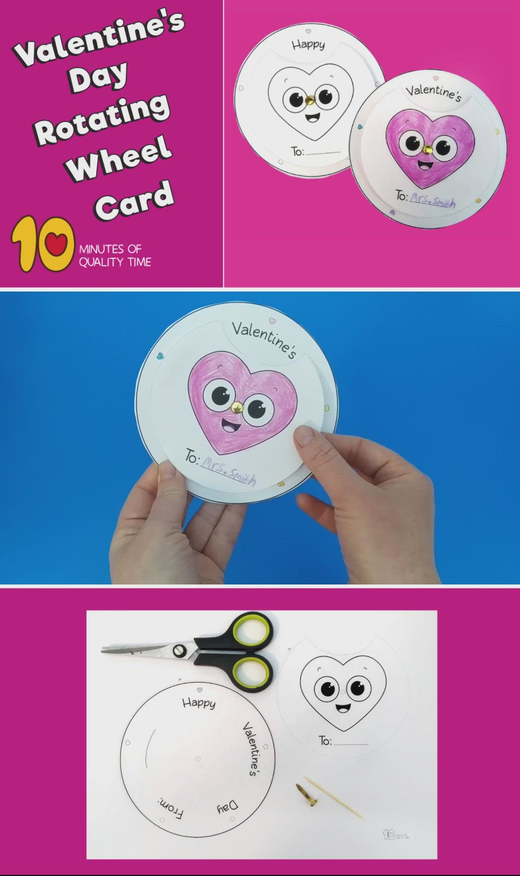 Valentine S Day Rotating Wheel Card Video Diy Valentine S Cards Valentine S Day Crafts For Kids Cards