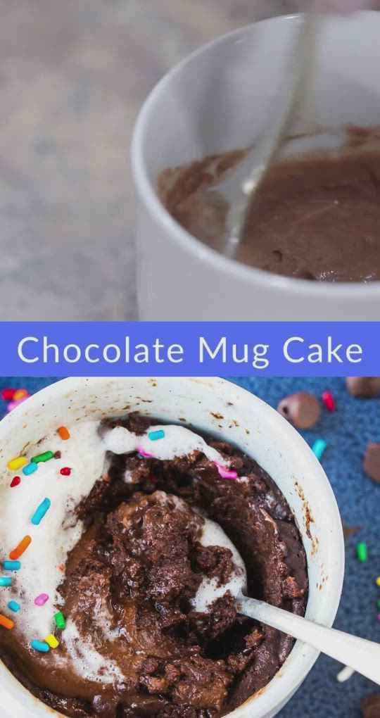 Chocolate Mug Cake Video In 2021 Mug Cake Desserts With Chocolate Chips Chocolate Cake Recipe Easy