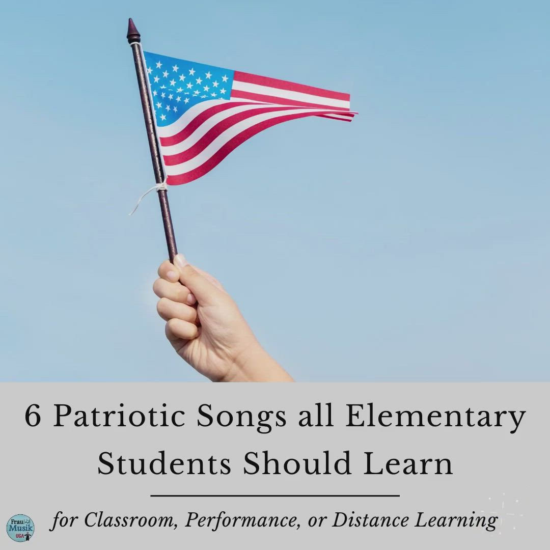 Patriotic Songs For Elementary Students The Big 6 Frau Musik Usa Video Video Music Lesson Plans Elementary Elementary Music Lessons Elementary Music Education