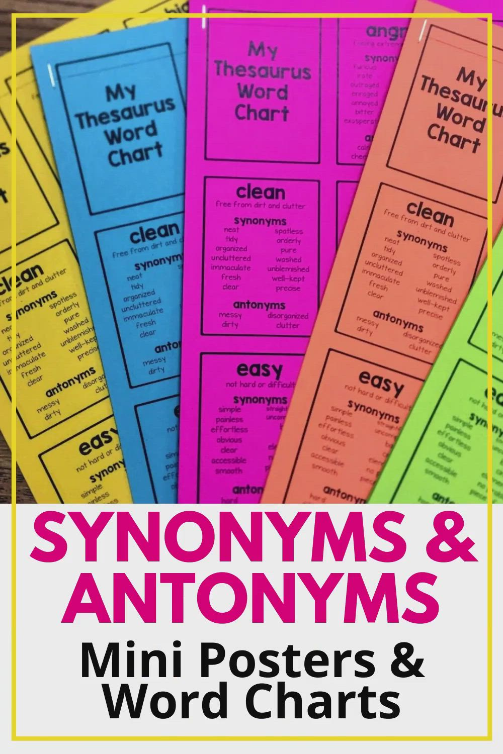 Synonyms And Antonyms Charts [Video] | Synonyms And Antonyms, Thesaurus  Words, Descriptive Words