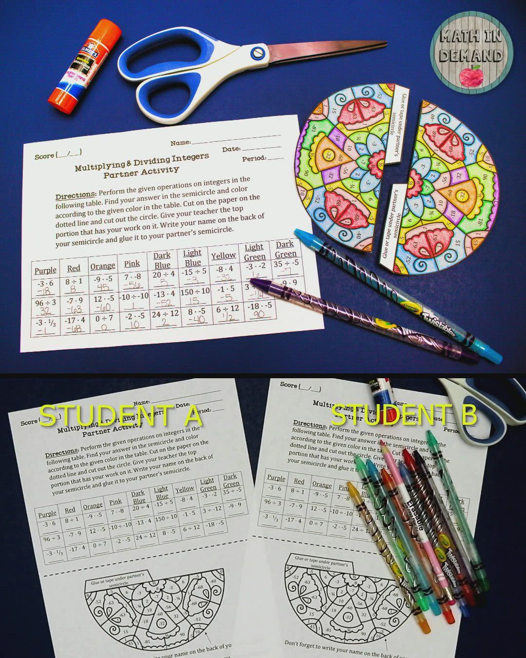 Multiplying And Dividing Integers Partner Coloring Activity Video Dividing Integers Multiplying And Dividing Integers Integers [ 1350 x 1080 Pixel ]