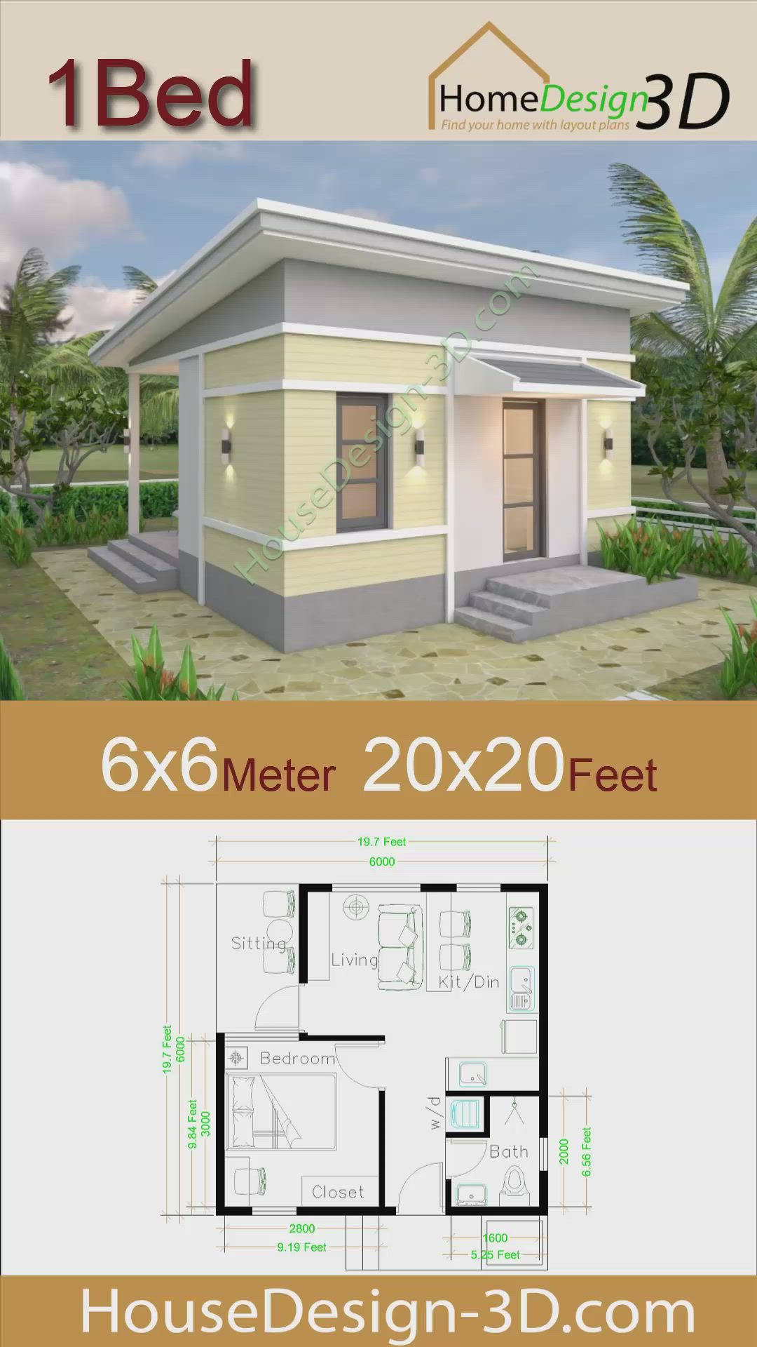 One Bedroom House Plans 6x6 With Shed Roof Video In 2020 Small House Design One Bedroom House Plans House Plans