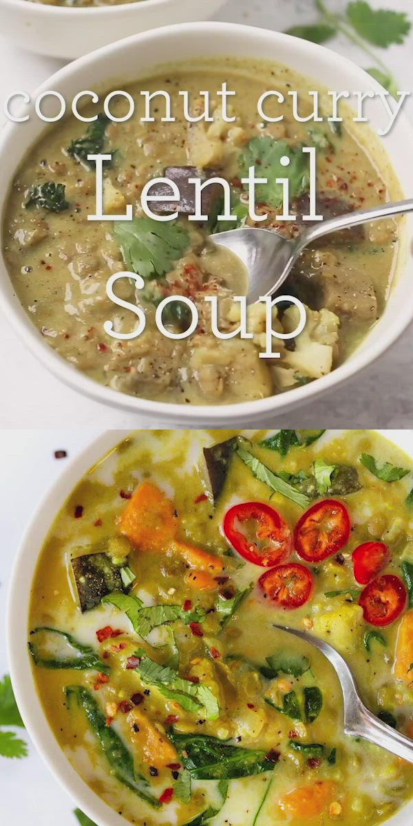 This Green Coconut Curry Lentil Soup is an easy vegan dinner idea that makes amazing leftovers. Great for meal prep, healthy, hearty and so tasty! Vegetarian and gluten-free as well. Made in the stockpot or in a Dutch oven! #lentilsoup #vegansoup #curryrecipe