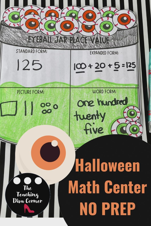 Halloween Eyeball Math Place Value Craft Video Video In 2021 Halloween Math Activities Math Place Value Halloween Math