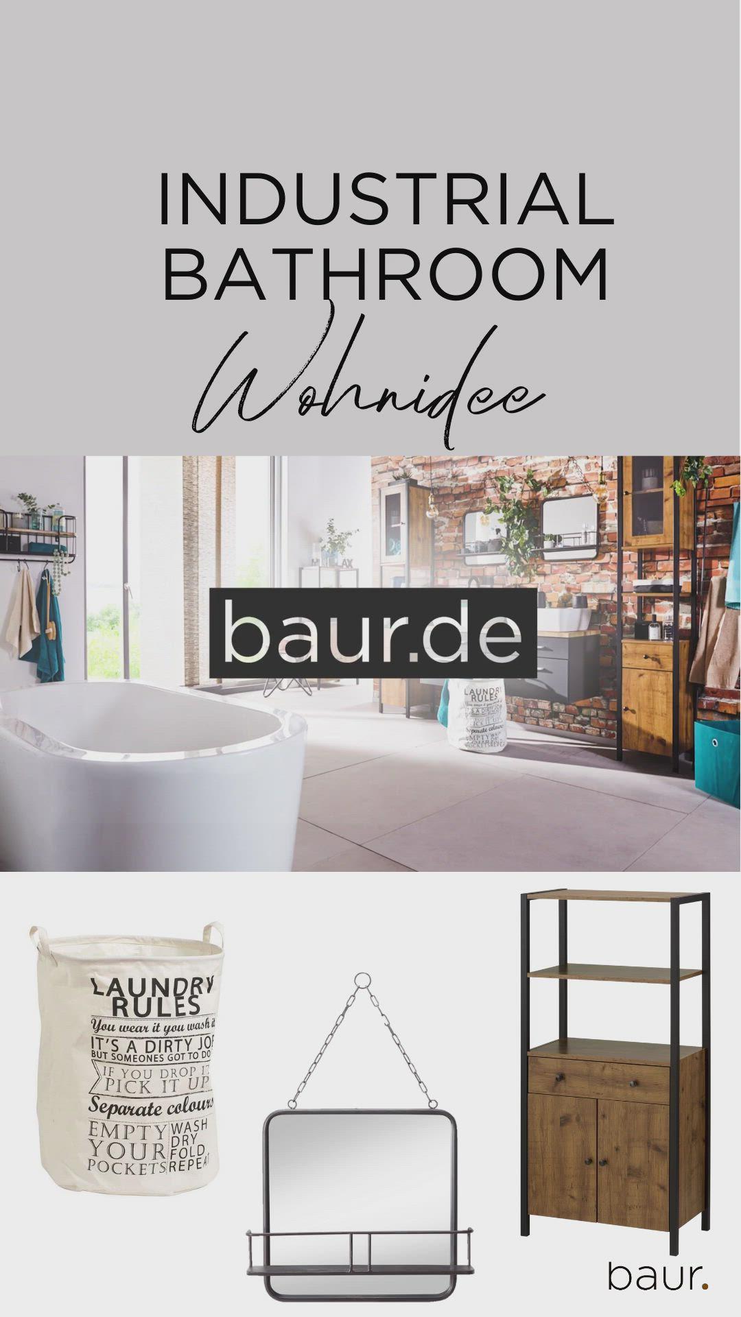 Wohnideen Fur Dein Industrial Bathroom Von Baur De Badezimmer Einrichten Im Industrial Style Video In 2020 Wohnideen Wohnen Dunkles Holz