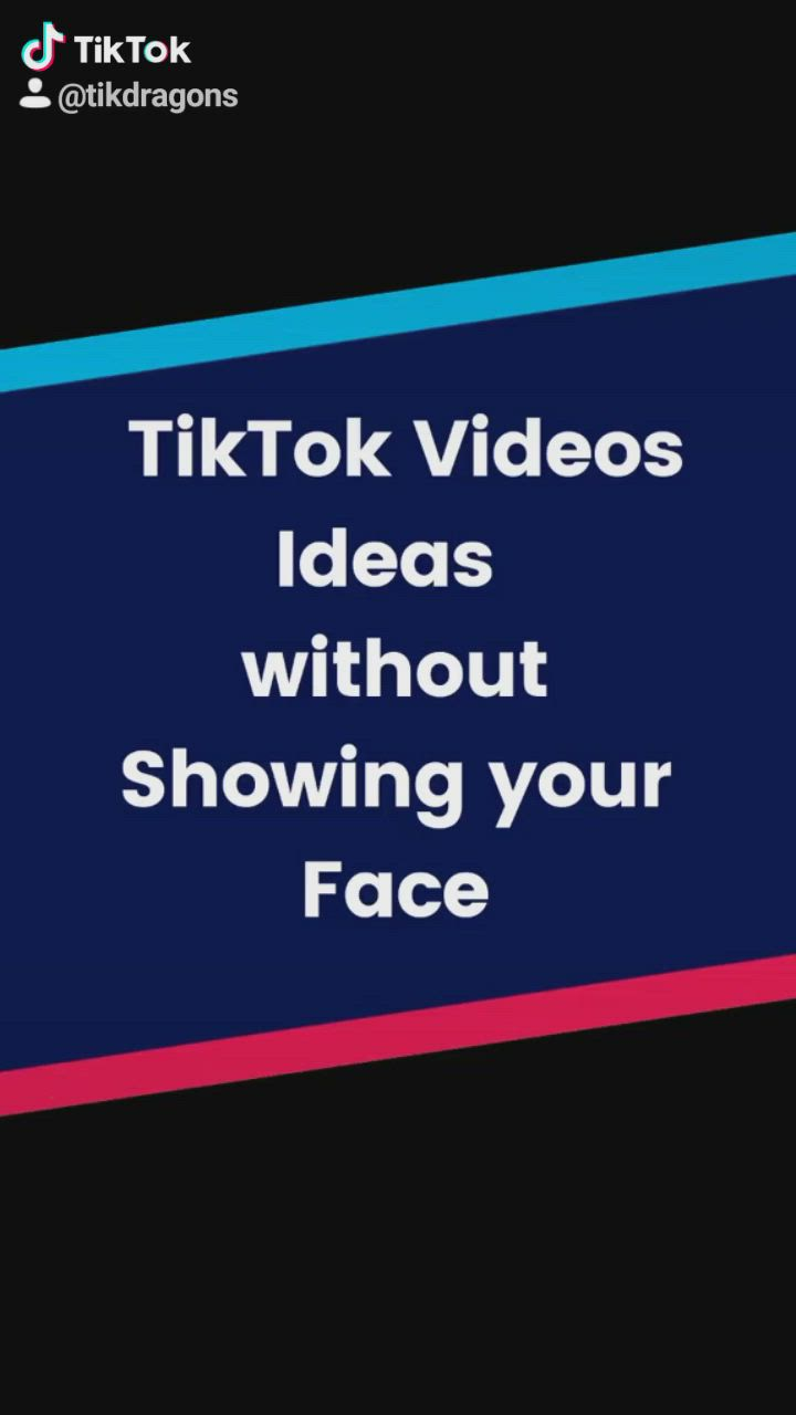 Tiktok Videos Ideas Without Showing Your Face Video Face Videos Create Yourself