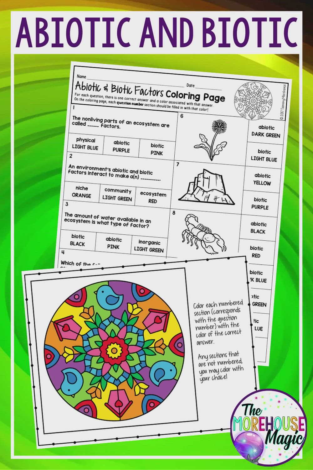 Abiotic And Biotic Factors Science Color By Number Activity For Middle Video Science Lessons Middle School Science Notebook Middle School Life Science Middle School