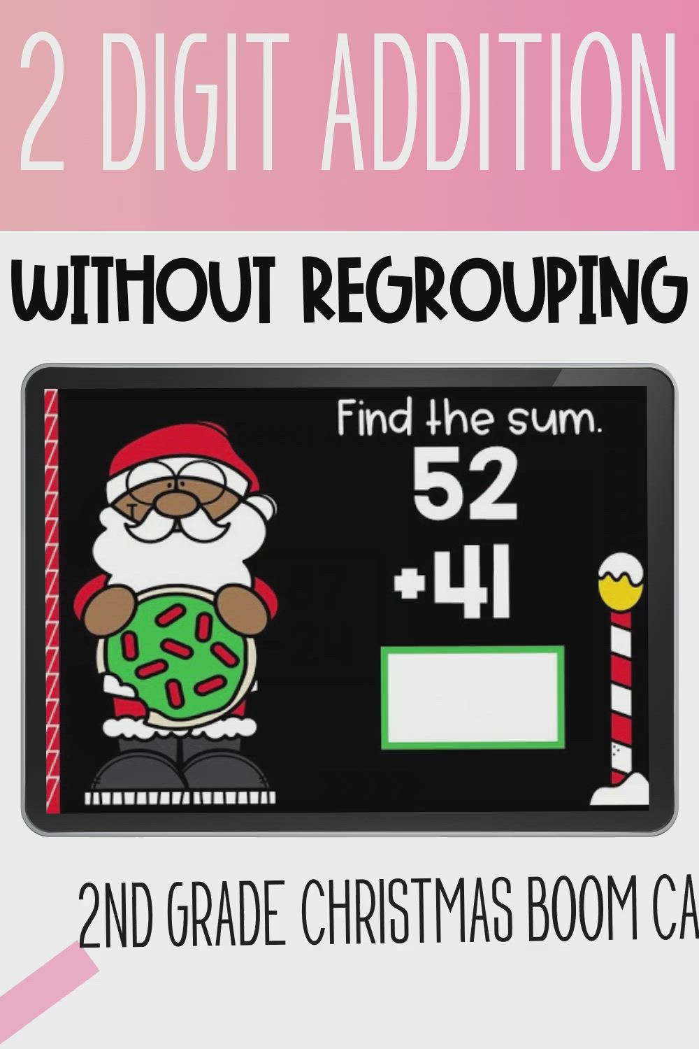 2nd Grade 2 Digit Addition Without Regrouping Winter Christmas Boom Cards Video Video 2nd Grade Early Finishers Activities Regrouping Addition without regrouping video