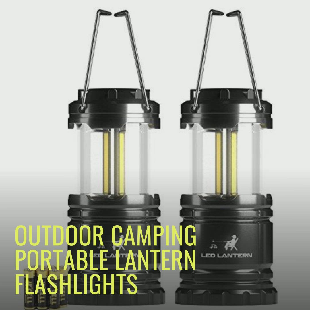 Black SuBleer 2 Pack Portable Outdoor LED Camping Lantern Flashlights with 6 AA Batteries Lantern-003-2