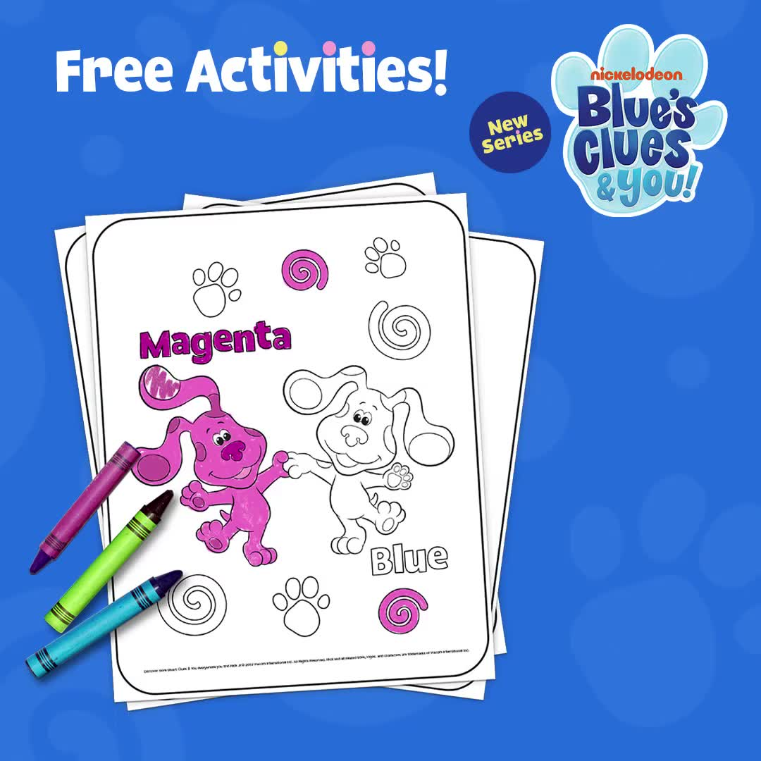 Blue S Clues You Printable Coloring Page Video Video Bug Coloring Pages Blues Clues Preschool Arts And Crafts