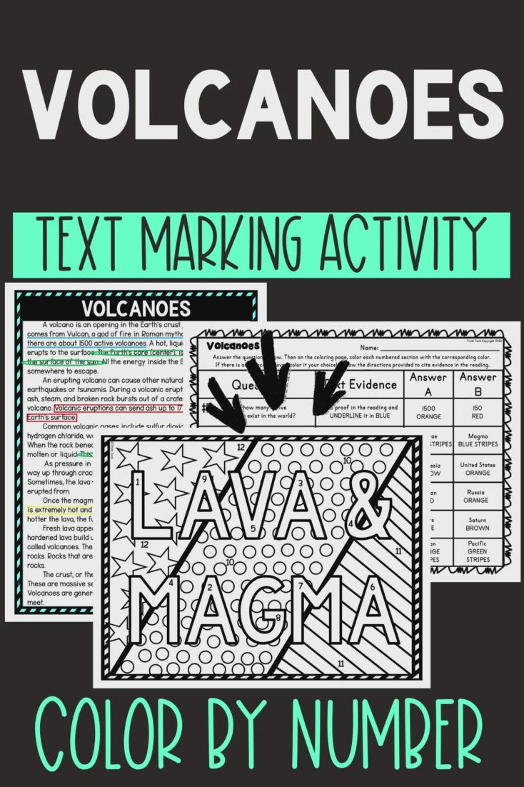 Volcanoes Color By Number Reading Passage And Text Marking Video Video In 2021 Middle School Reading Upper Elementary Resources 5th Grade Reading [ 1102 x 734 Pixel ]
