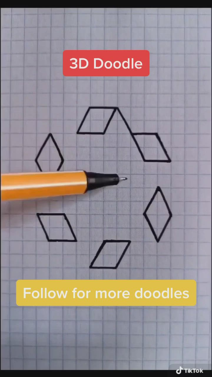 3d Pattern Doodle Video Graph Paper Drawings Graph Paper Art Geometric Design Art