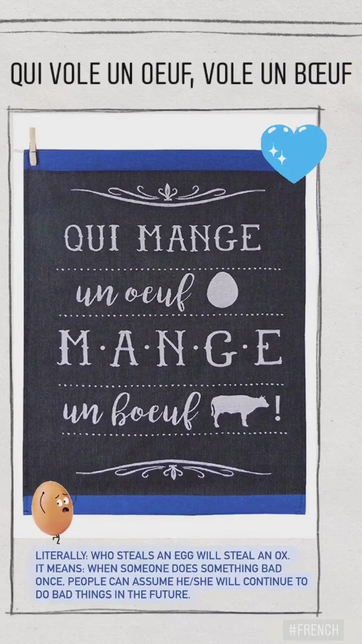 Qui Vole Un Oeuf Vole Un Boeuf : boeuf, Kitchen, Towel, Mange, [Video], French, Expressions,, Oeuf,, Replace, Paper, Towels