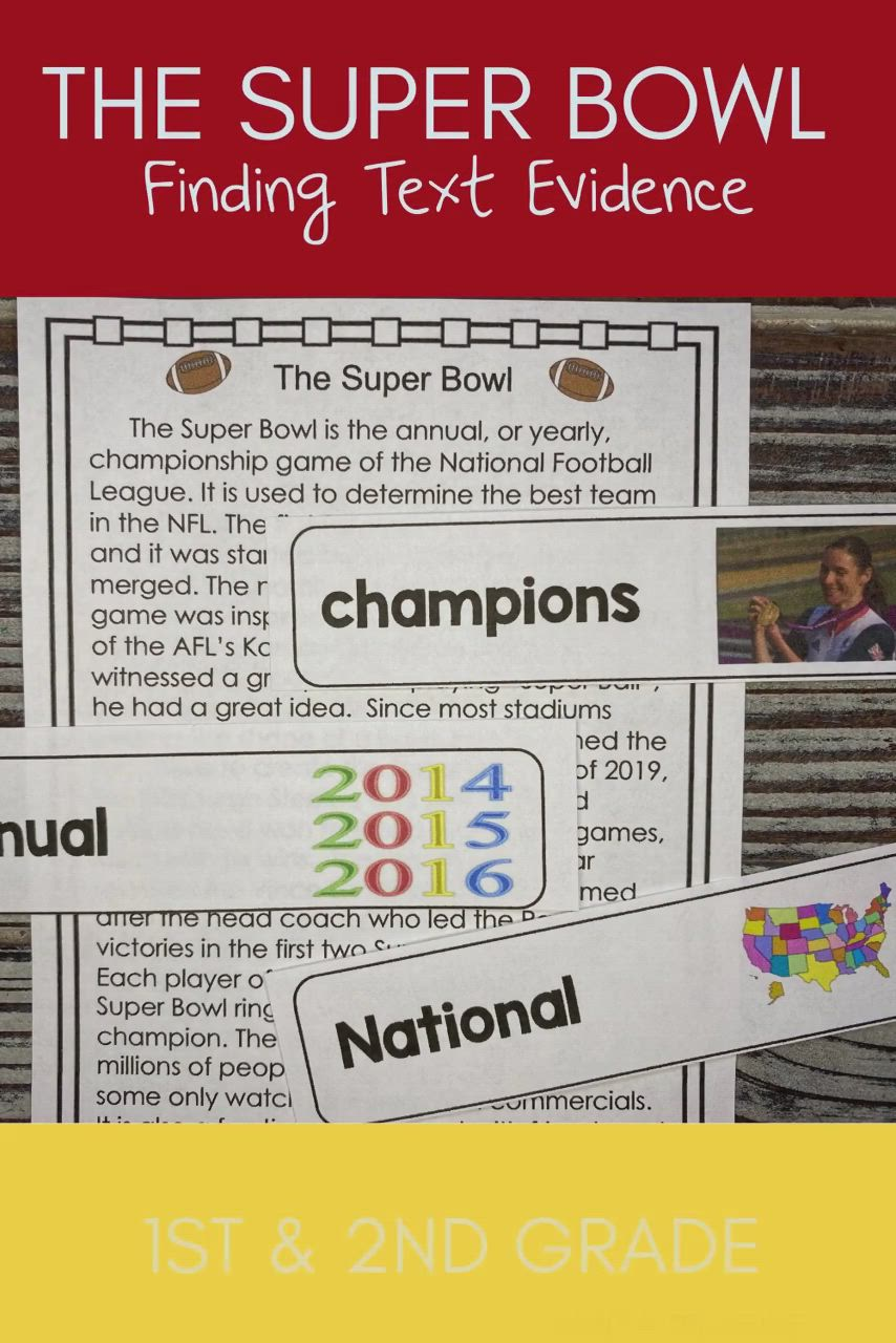 Super Bowl Reading Passage Finding Text Evidence For Primary Video Video In 2021 Reading Passages Text Evidence Citing Text Evidence [ 1280 x 854 Pixel ]