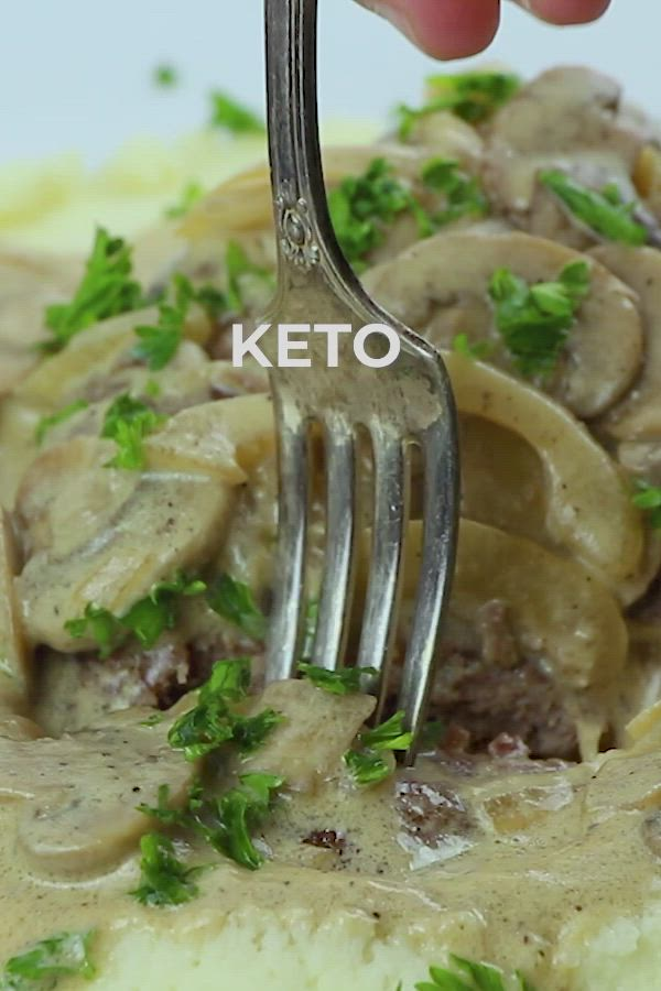 Keto Salisbury Steaks with Mushroom Gravy by I Breathe I'm Hungry. This easy delicious recipe was invented by a physician named J.H. Salisbury, who was a pioneer in the low carb diet field. Video pin created by GetSnackable.com. #LowCarb #GlutenFree
