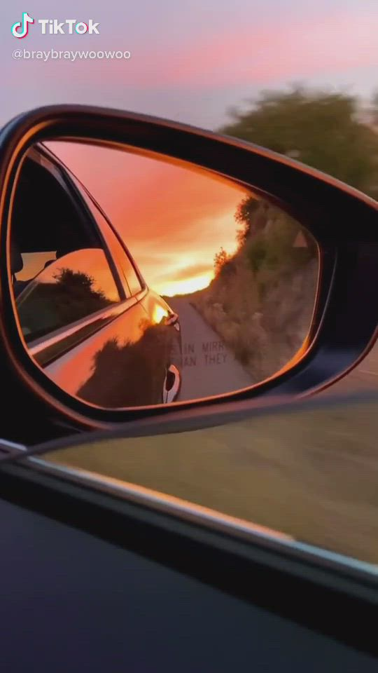 Sunset Video Driving Photography Mirror Photography Car Mirror