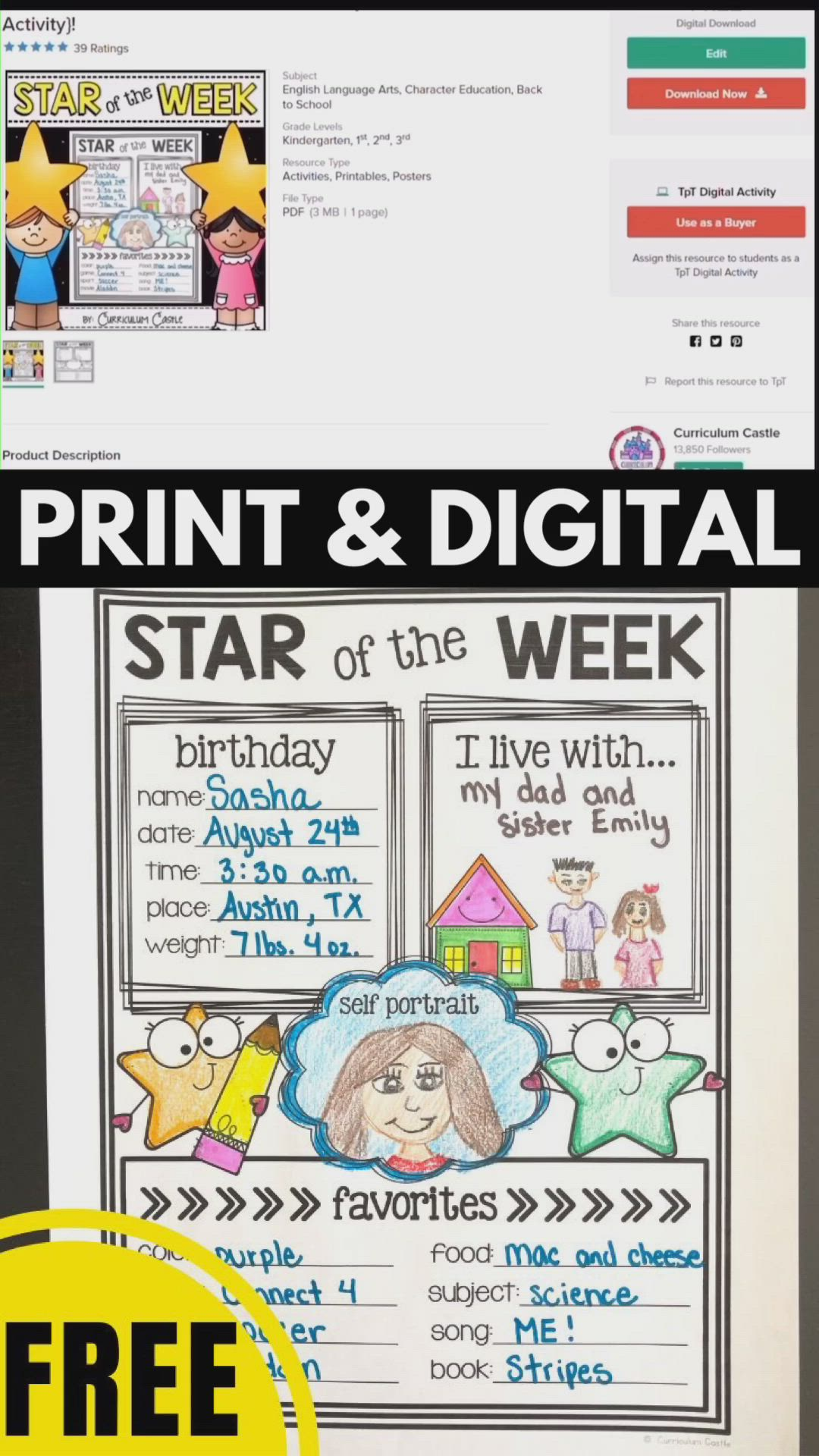 Star Of The Week Student Poster Freebie Back To School Activity Video Video First Week Of School Ideas Student Posters Star Of The Week