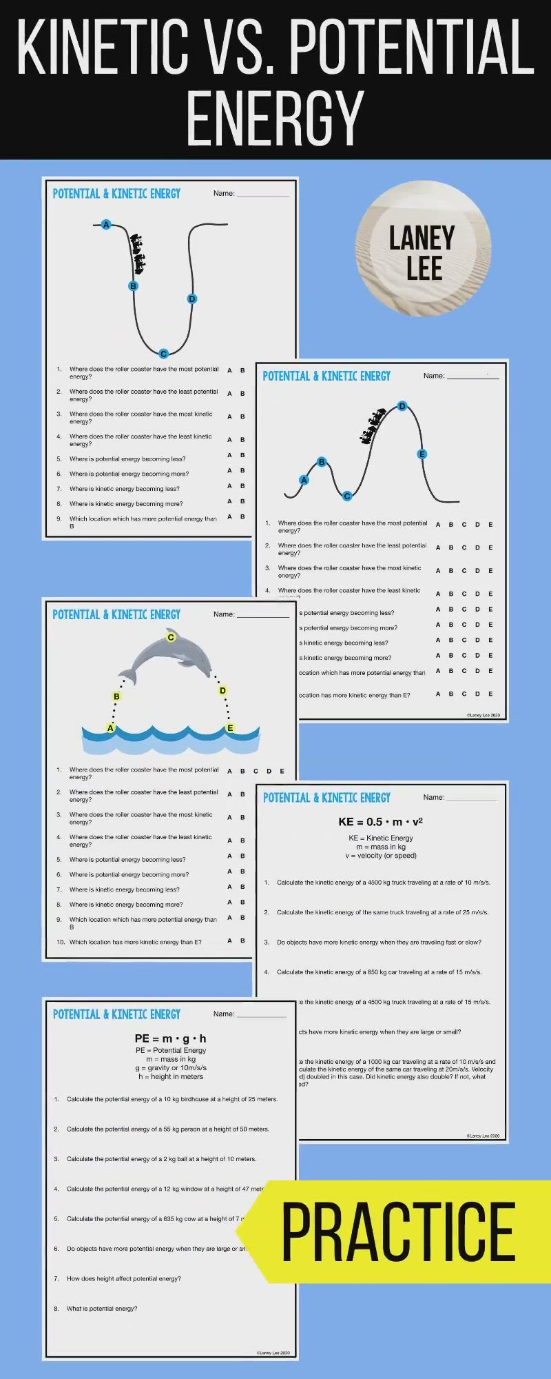 Kinetic Potential Energy Practice Worksheets Pdf Digital Versions Video Video Kinetic And Potential Energy Middle School Science Resources Potential Energy