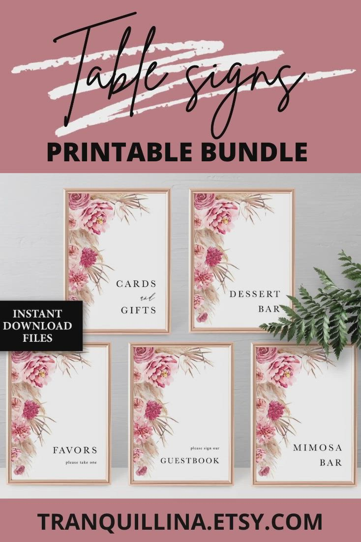 Please Help The Busy Bride To Be Desert #c65b Templett Boho Pink Write Your Address Printable Pampas Grass Bridal Shower Sign Template