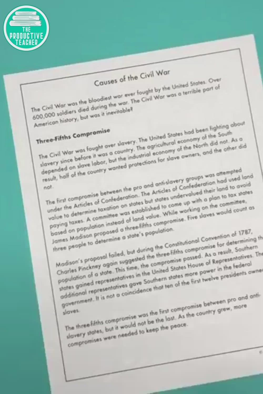 Causes Of The Civil War Reading Passage Set Video Reading Passages Civil War Reading Passages Reading Comprehension Practice [ 1500 x 1000 Pixel ]
