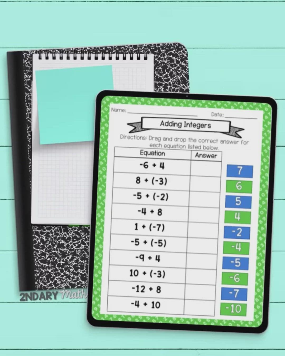 Bundle Integer Operations Drag And Drop Matching Activities Digital Printable Video Integer Operations Math Resources 7th Grade Math Adding and subtracting integers escape