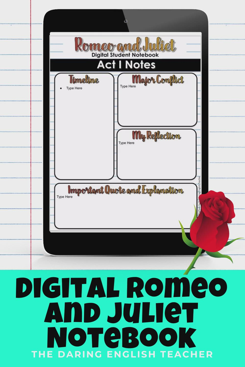 Digital Romeo And Juliet Interactive Notebook For Remote Learning Video Teaching Shakespeare Student Act 2 Scene 1 Quote Analysis Analysi