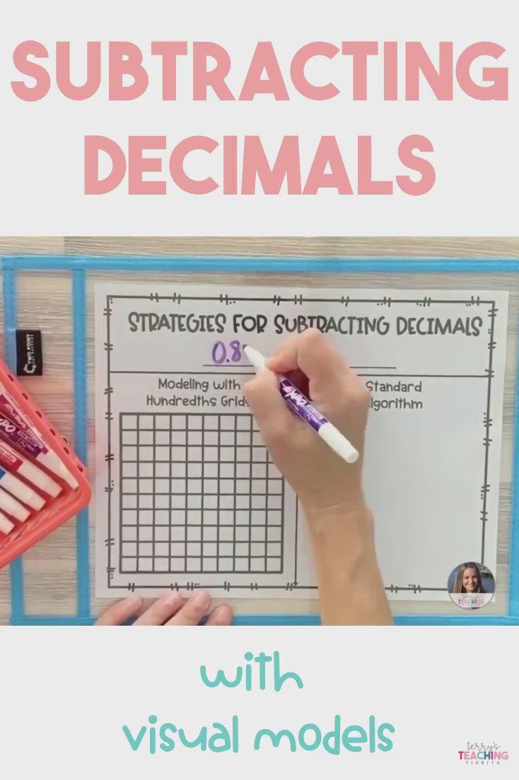 Subtracting Decimals With Visual Models Video Subtracting Decimals Adding And Subtracting Subtraction Adding subtracting decimals video