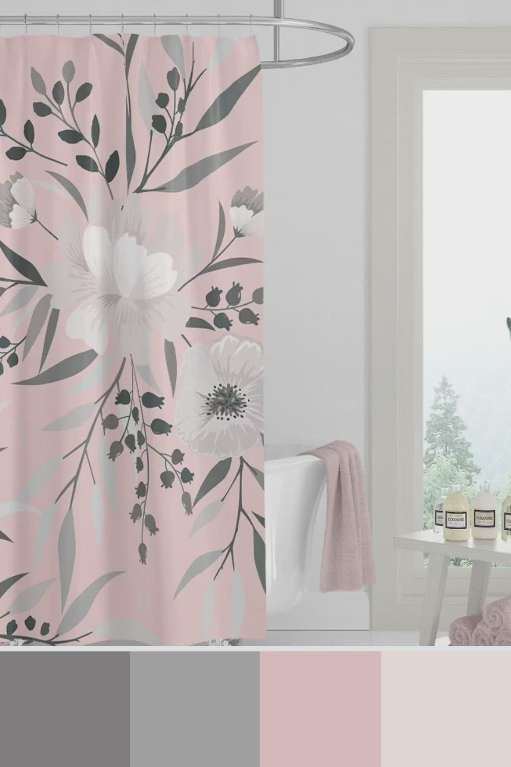 Home Decor Bathroom Colors Floral Shower Curtains For Pink And