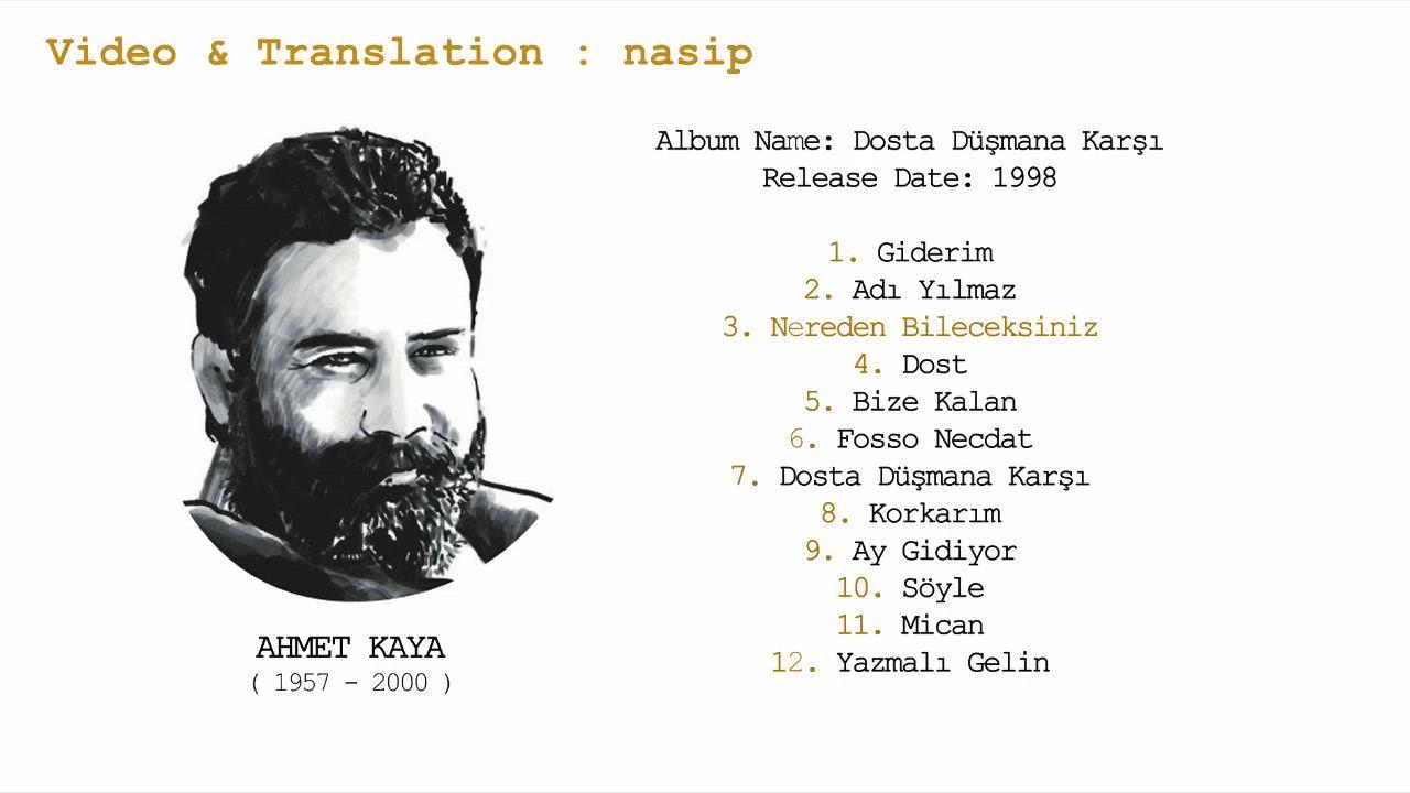Ahmet Kaya Nereden Bileceksiniz How Can You Know Lyrics Video 2020 Translation Adlar Nane