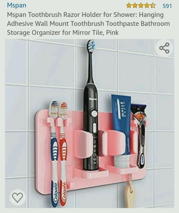Mspan Toothbrush Razor Holder for Shower Wall Mounted Adhesive Hanging Electr..