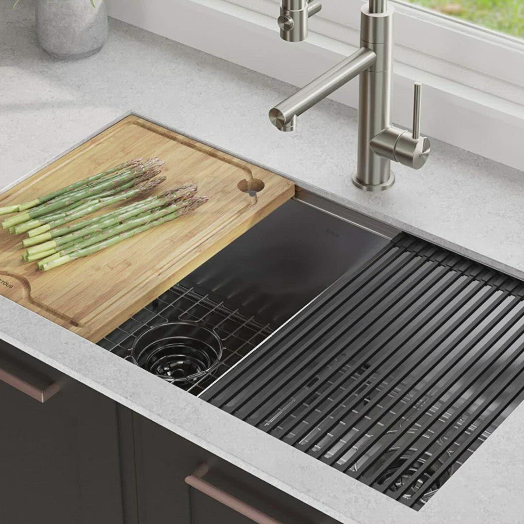 Kraus Kwu112 33 Kore Workstation 33 Inch Undermount 16 Gauge Double Bowl Stainless Steel Kit Video Stainless Steel Kitchen Sink Kitchen Sink Rack Kitchen Sink Design