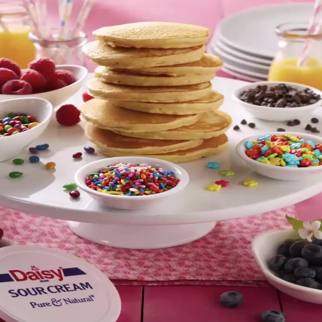 Daisy Sour Cream Pancakes Daisy Brand Sour Cream Cottage Cheese Video Recipe Video Sour Cream Recipes Sour Cream Pancakes Tasty Pastry