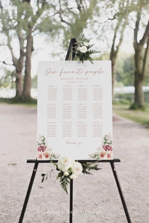 Boho Rose Wedding Seating Sign Editable Seating Chart Editable Sign Seating Sign SC-50 Boho Wedding Seating Chart Sign Printable