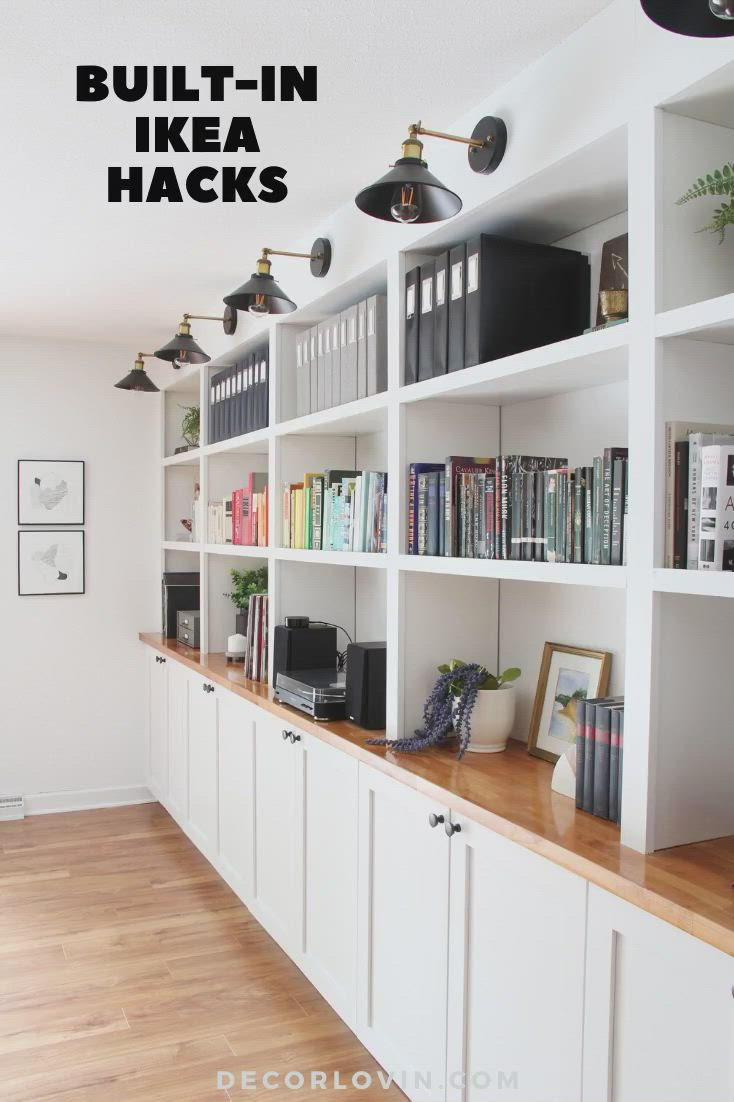 Ikea Built In Hacks That Will Save You Money Video Video In 2020 Ikea Built In Home Office Cabinets Living Room Built Ins
