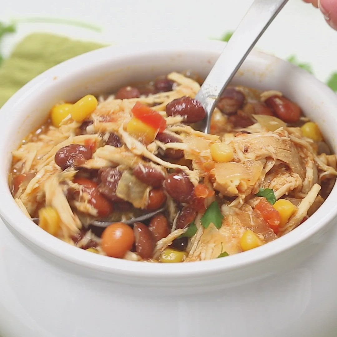 Zero Point Weight Watchers Taco Soup packed with chicken breast, beans, corn, tomatoes, and tons of taco flavor. Cooked in the slow cooker or on the stove-top, this healthy dish will feed a crowd and couldn't be easier to make.