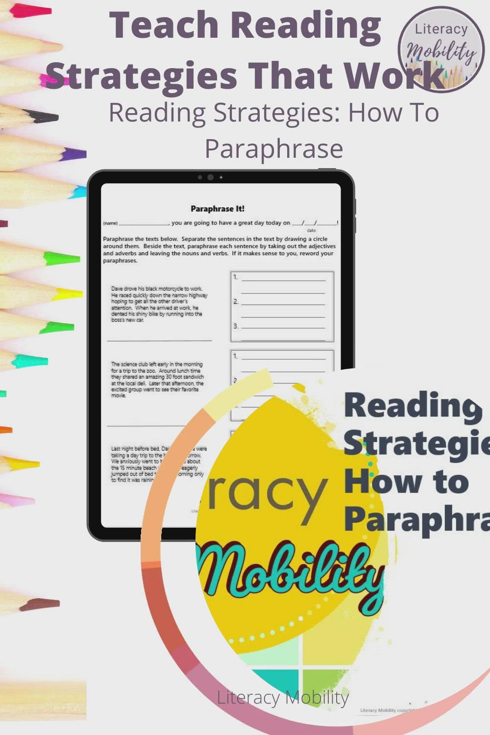 Reading Strategie How To Paraphrase Powerpoint And Worksheet Set Video Skill Upper Elementary Resources Literacy Standard Paraphrasing