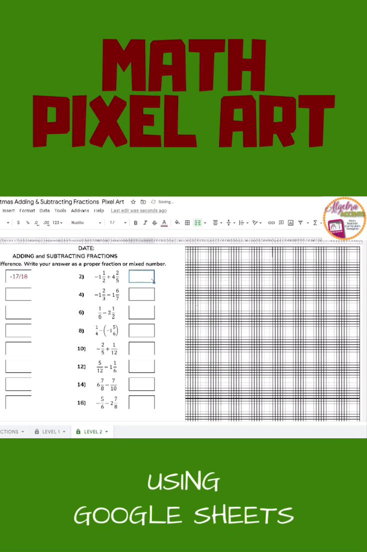 Distance Learning Christmas Math Adding And Subtracting Fractions Pixel Art Video In 2020 [ 1102 x 734 Pixel ]