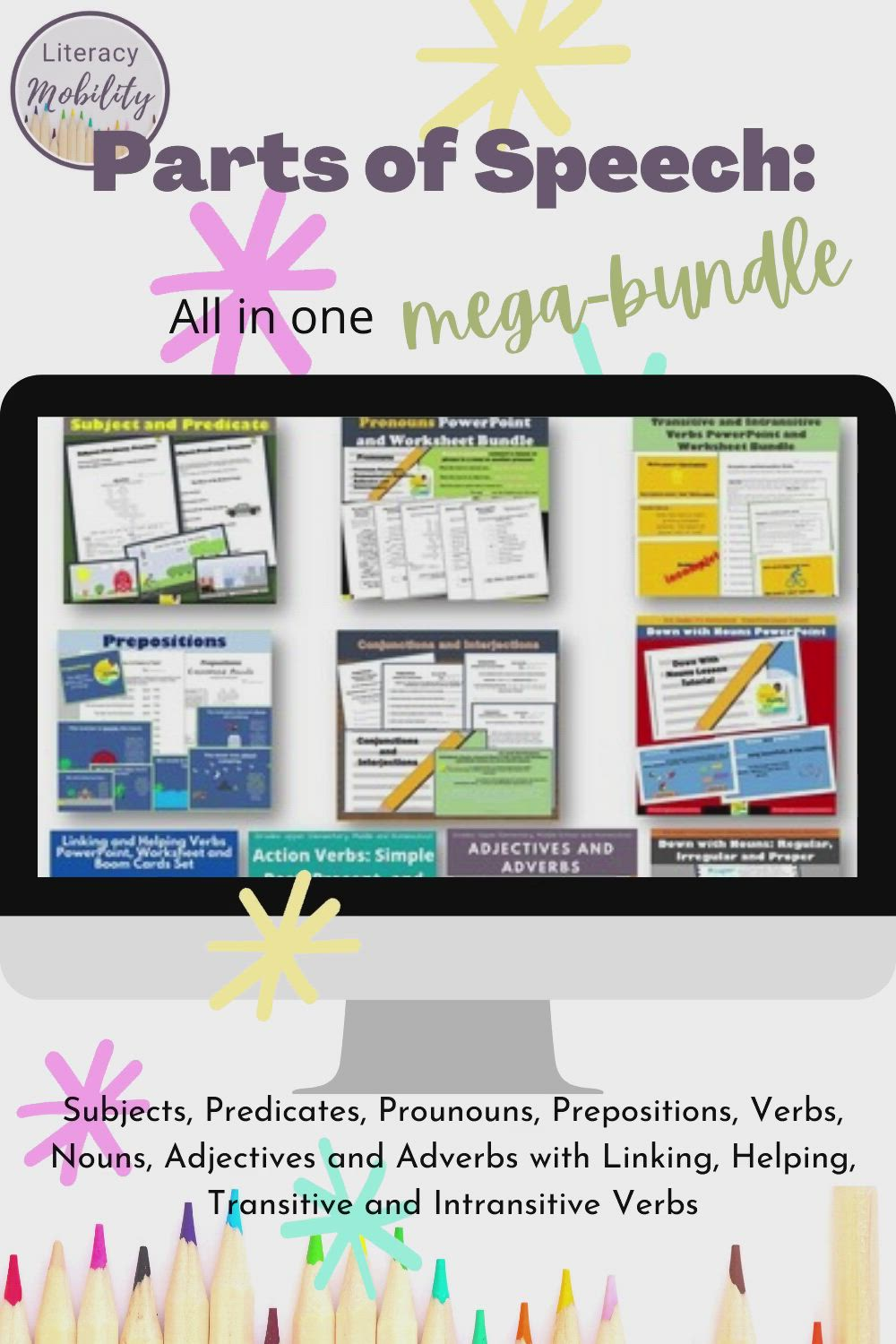 Parts Of Speech All In One Mega Bundle Video Video Parts Of Speech Subject And Predicate Language Arts Classroom