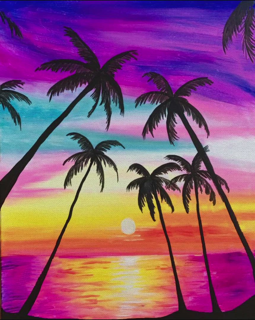 Some Beach Video Sunset Painting Simple Acrylic Paintings Summer Painting