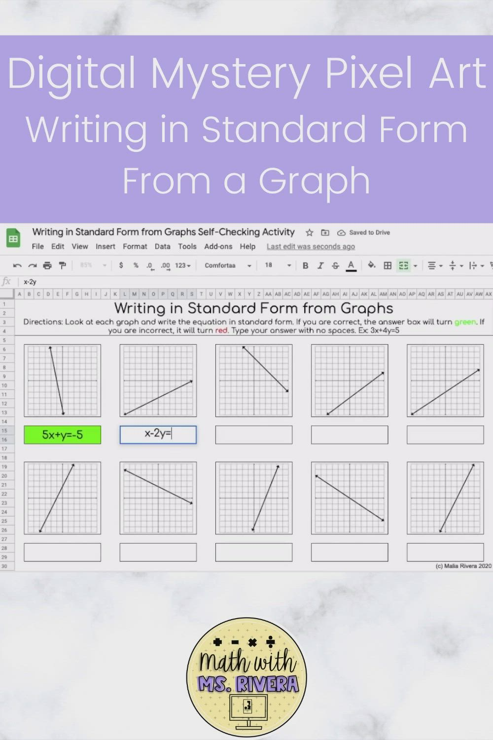 Writing Equations In Standard Form From Graphs Digital Activity Video Video In 2021 Writing Linear Equations Writing Equations Algebra Resources Writing equations of lines worksheets