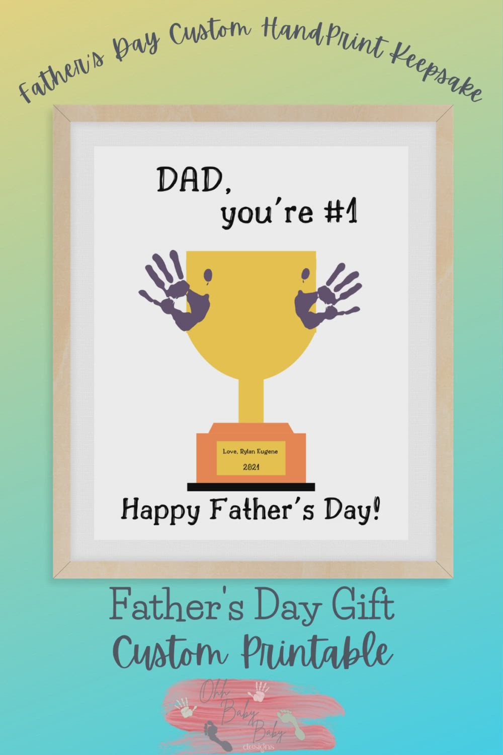 Dad You Re Number 1 Father S Day Hand Print Keepsake Etsy Video Video In 2021 Handprint Crafts Valentine Print Fathers Day