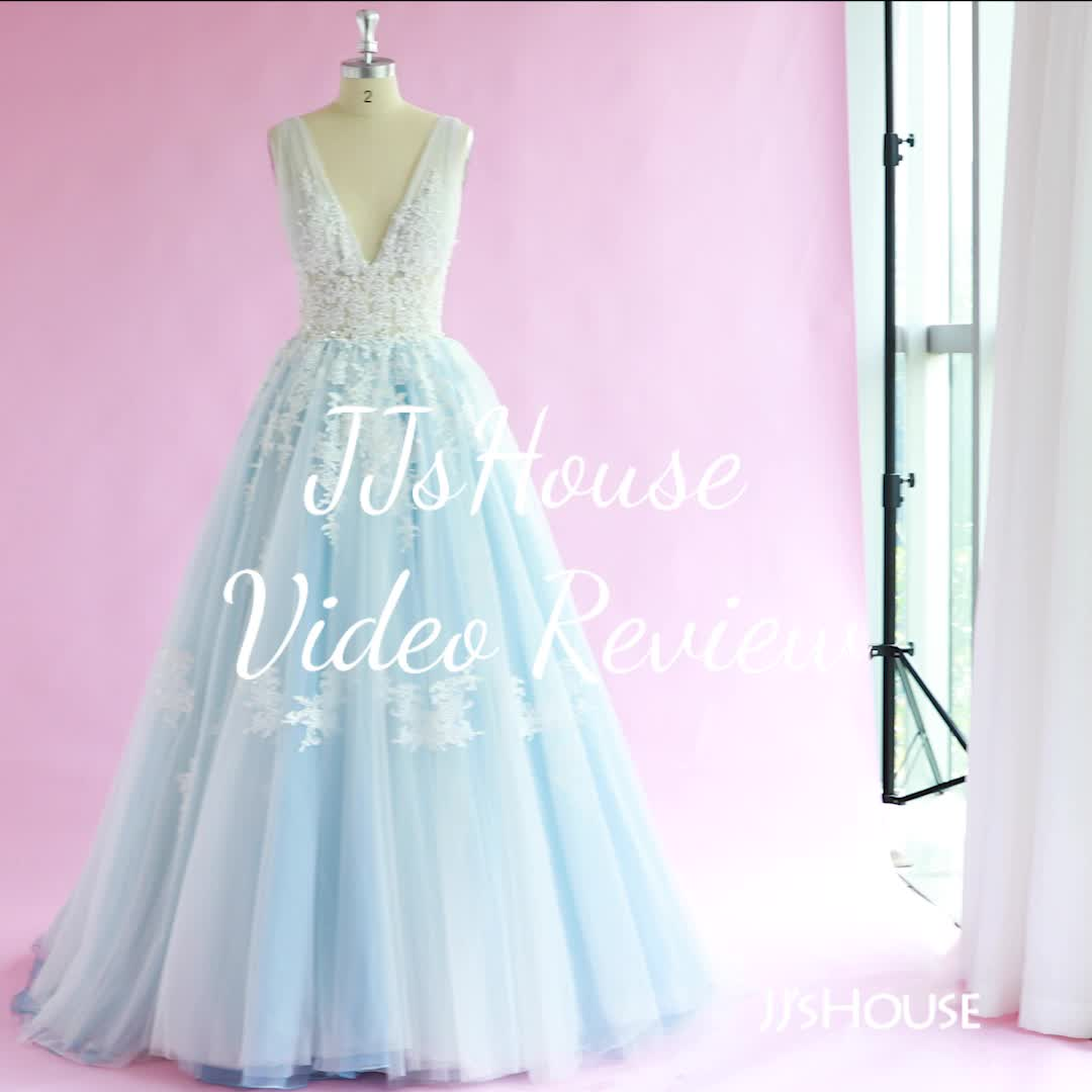 Us 366 00 Ball Gown V Neck Chapel Train Tulle Lace Wedding Dress Jj S House Video Video Ball Gowns Sleeves Designs For Dresses Dresses