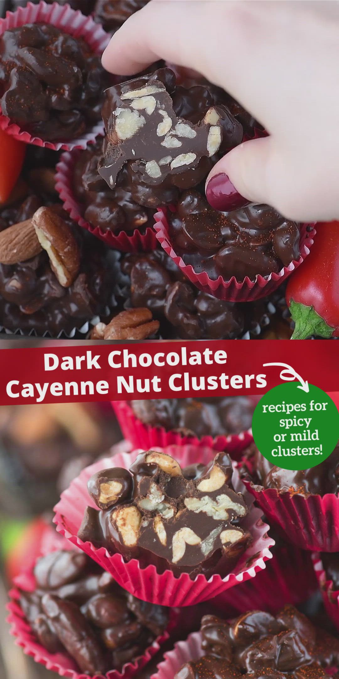 Dark Chocolate Cayenne Nut Clusters Video Spicy Chocolate Christmas Food Nut Recipes