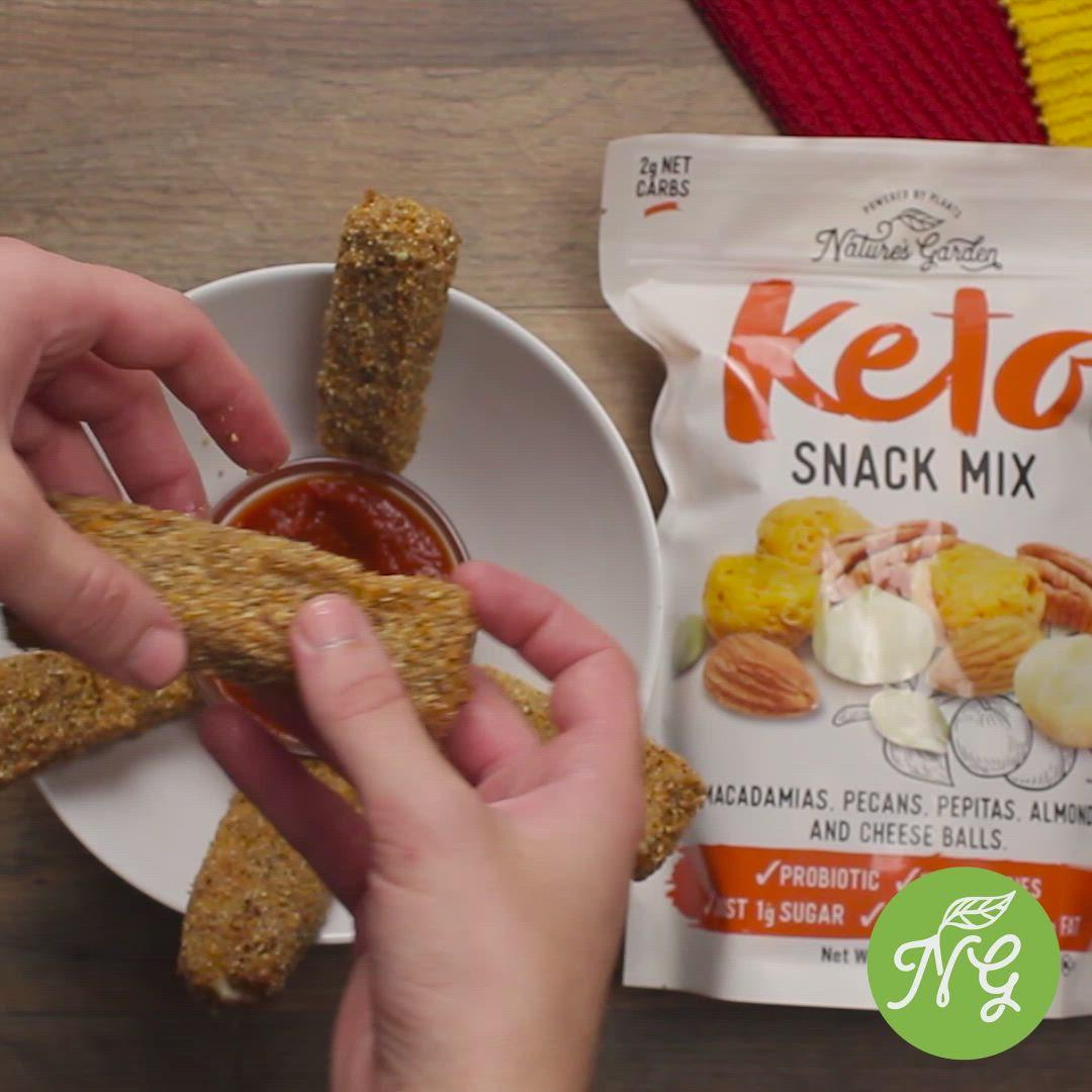 Keto Mozzarella Sticks Low Carb Gluten Free From Nature S Garden Video Video Snacks Keto Recipes Snack Mix