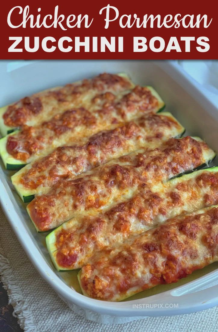 Gluten free · Serves 4 · Looking for low carb healthy dinner ideas? This simple keto friendly meal is made with just 5 ingredients: ground chicken, marinara, zucchini, mozzarella and parmesan. The whole family will love it! This yummy low carb chicken dinner recipe is fast, easy, healthy, cheap and delicious! Great for beginners on a low carb or ketogenic diet.